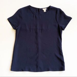 J. Crew Matte Crepe Keyhole Navy Shirt Blouse Sz 4